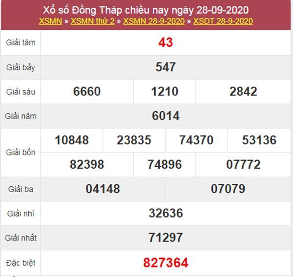 Soi cầu XSDT 5/10/2020 chốt lô số đẹp Đồng Tháp thứ 2